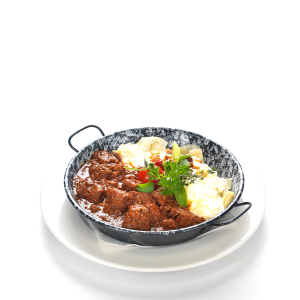 Beef-stew with cottage-cheese pasta