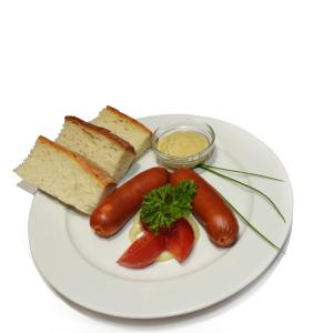 Főtt Debreceni kolbász mustárral, friss, Lipóti kenyérrel