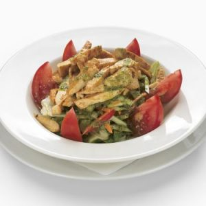 Vegetable salad mix from Grandma's garden with chicken